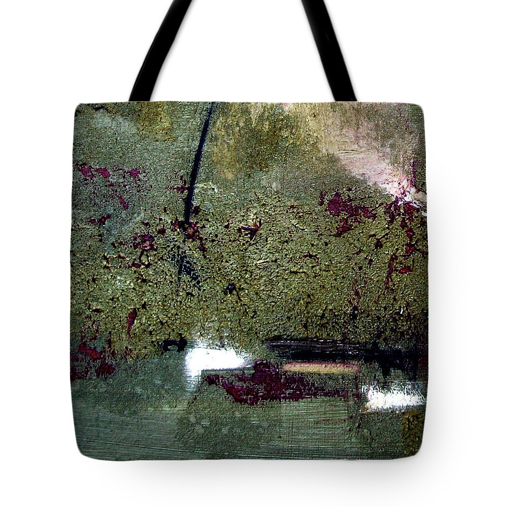 Abstract Tote Bag featuring the painting Sage And Plum by Ruth Palmer