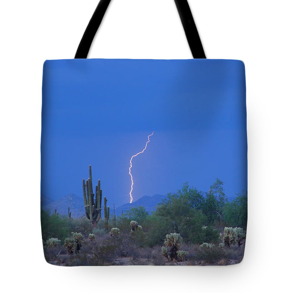 Lightning Tote Bag featuring the photograph Saguaro Desert Lightning Strike Fine Art by James BO Insogna