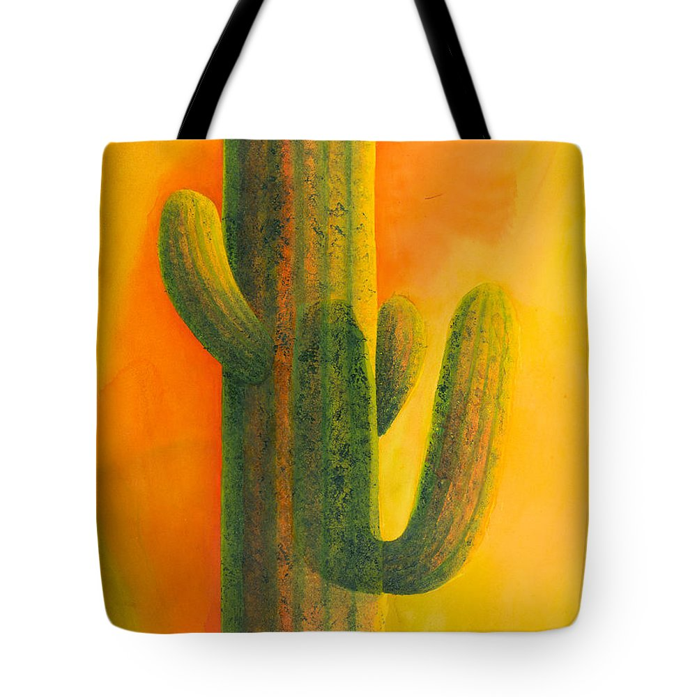 Cactus Tote Bag featuring the painting Saguaro In Summer by Sandra Neumann Wilderman