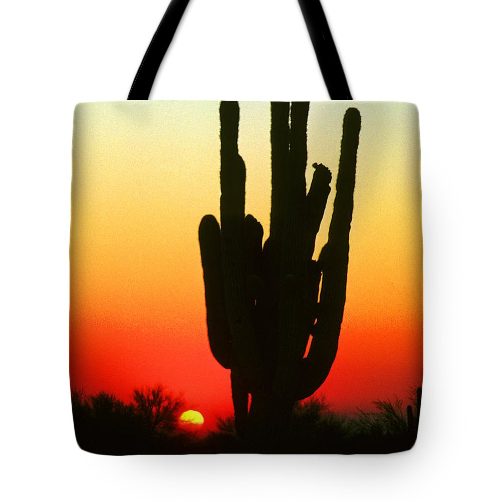 Sunset Tote Bag featuring the photograph Saguaro Sunset by James BO Insogna