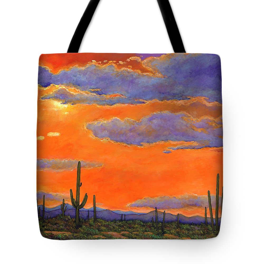 Southwest Art Tote Bag featuring the painting Saguaro Sunset by Johnathan Harris