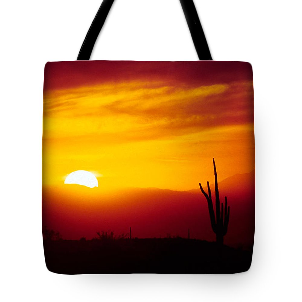 Arizona Tote Bag featuring the photograph Saguaro Sunset by Randy Oberg