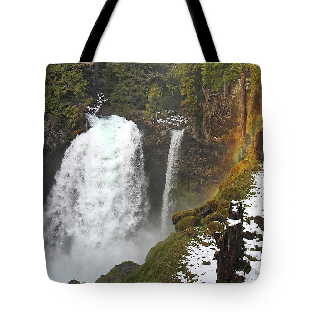 Falls Tote Bag featuring the photograph Sahalie Falls, Oregon by Lindy Pollard