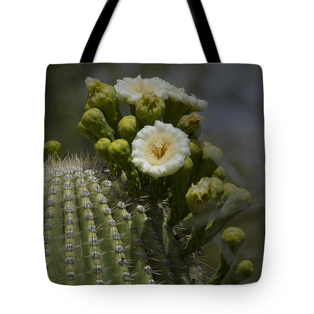 Cactus Tote Bag featuring the photograph Sahuaro Cactus In Bloom-signed-#3331 by J L Woody Wooden