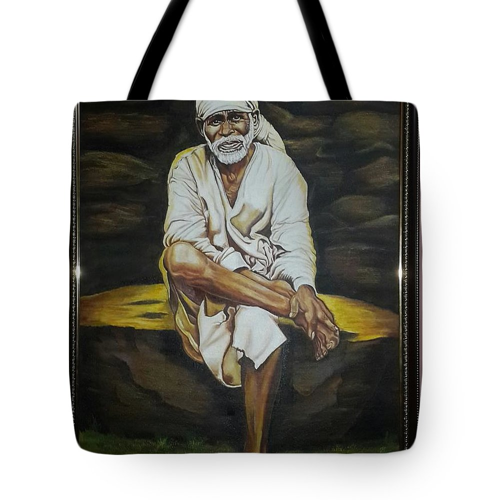 Sai Baba .indian's God Tote Bag featuring the painting Sai Baba Indian God by Sushan No