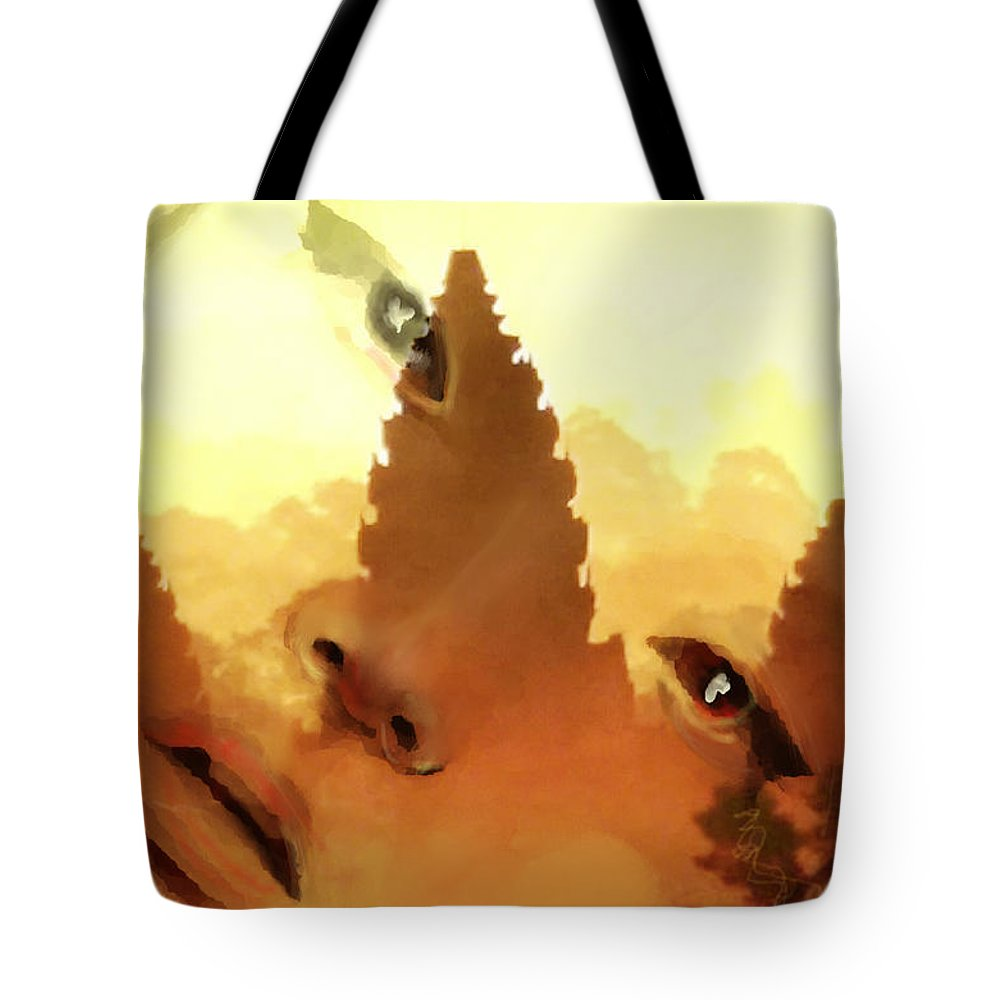 Face Tote Bag featuring the digital art Siam Visage by Scott Smith