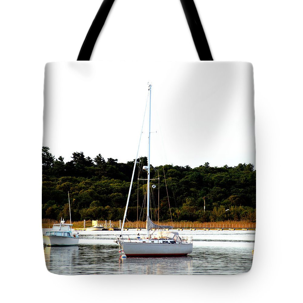 Sail Boat Tote Bag featuring the photograph Sail Boat At Anchor by Bruce Gannon