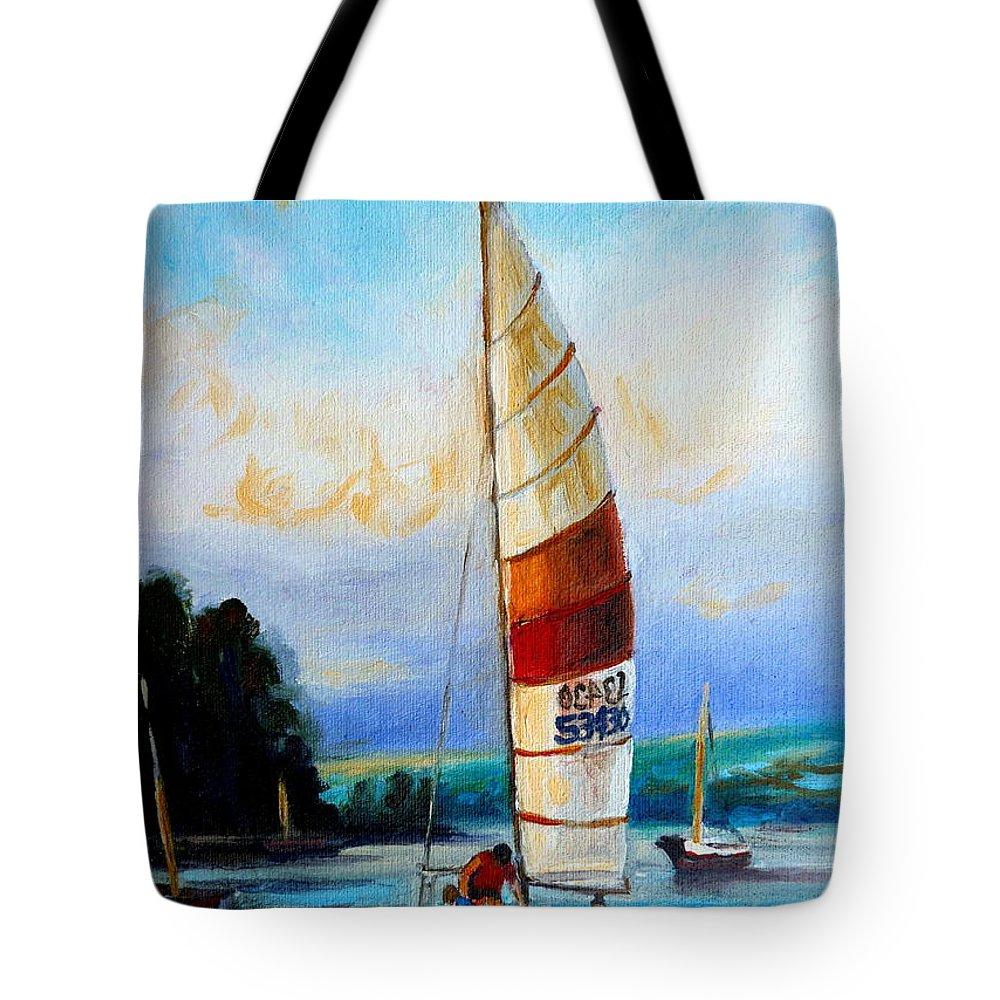 Sail Boats On The Lake Tote Bag featuring the painting Sail Boats On The Lake by Carole Spandau