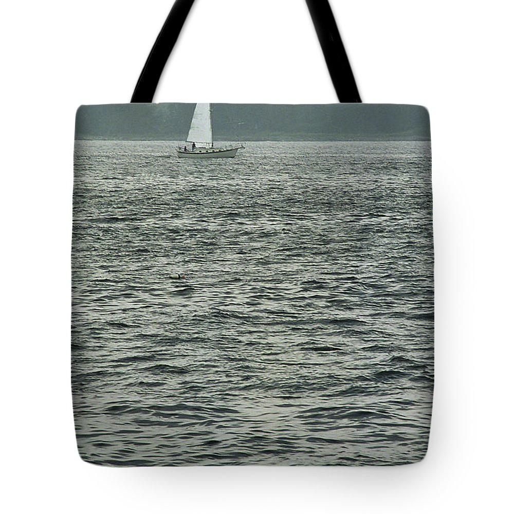 Adventure Tote Bag featuring the photograph Sailboat And Waves, Piscataqua River, Maine 2004 by Frank Romeo