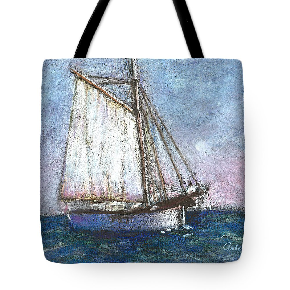Boat Tote Bag featuring the pastel Sailboat by Arline Wagner