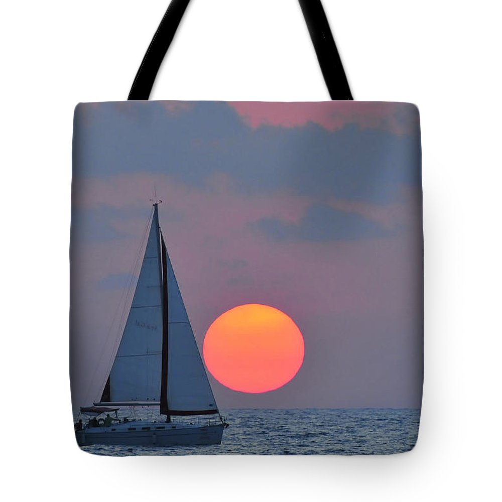Sail Boats Tote Bag featuring the photograph Sailboat At Sunset by Shay Levy