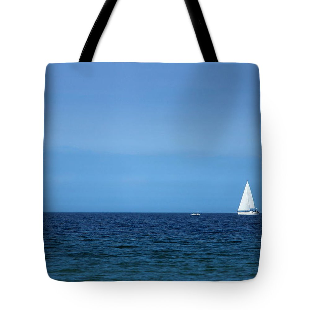 Blue Tote Bag featuring the photograph Sailboat by Heike Hultsch