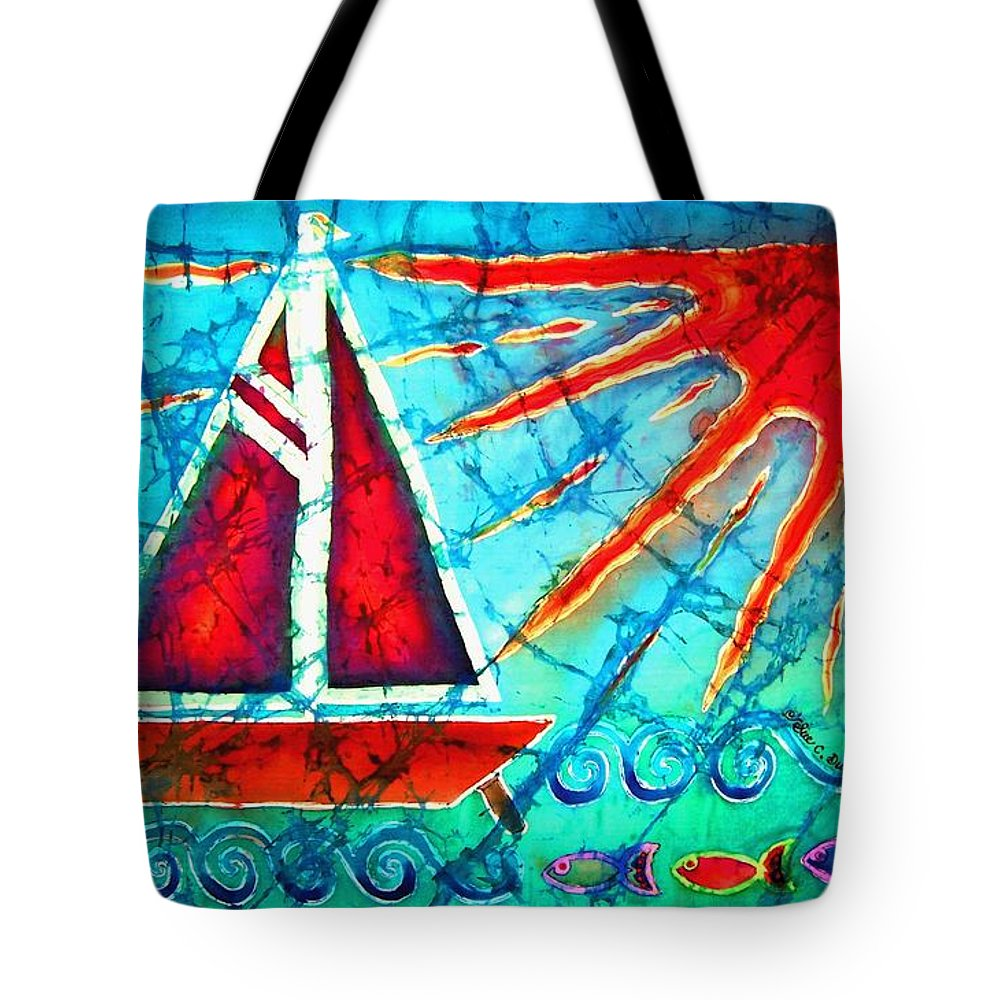 Sailboat Tote Bag featuring the painting Sailboat In The Sun by Sue Duda