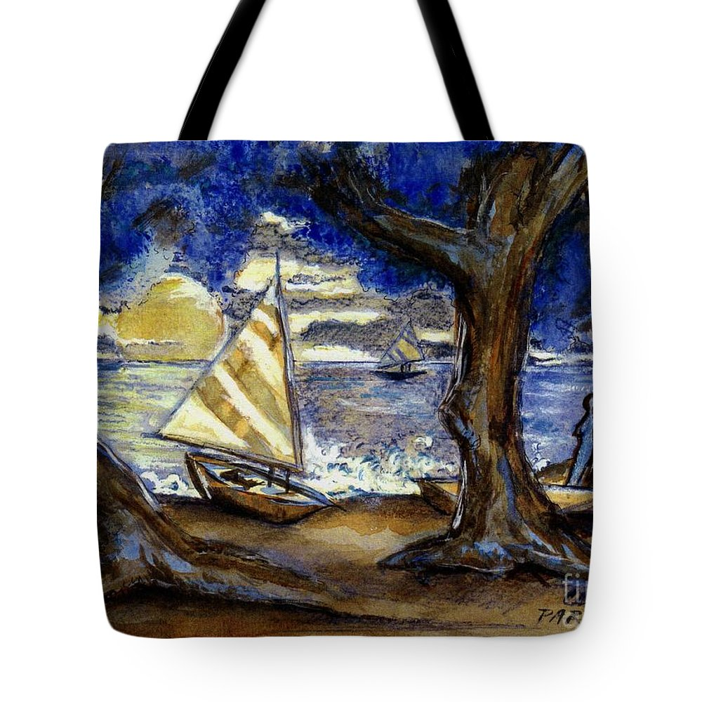 Beach Tote Bag featuring the painting Sailboats by Carliss Prosser