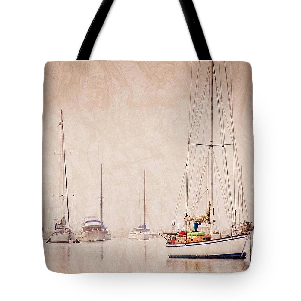 Sailboats Tote Bag featuring the photograph Sailboats in Morro Bay Fog by Zayne Diamond Photographic