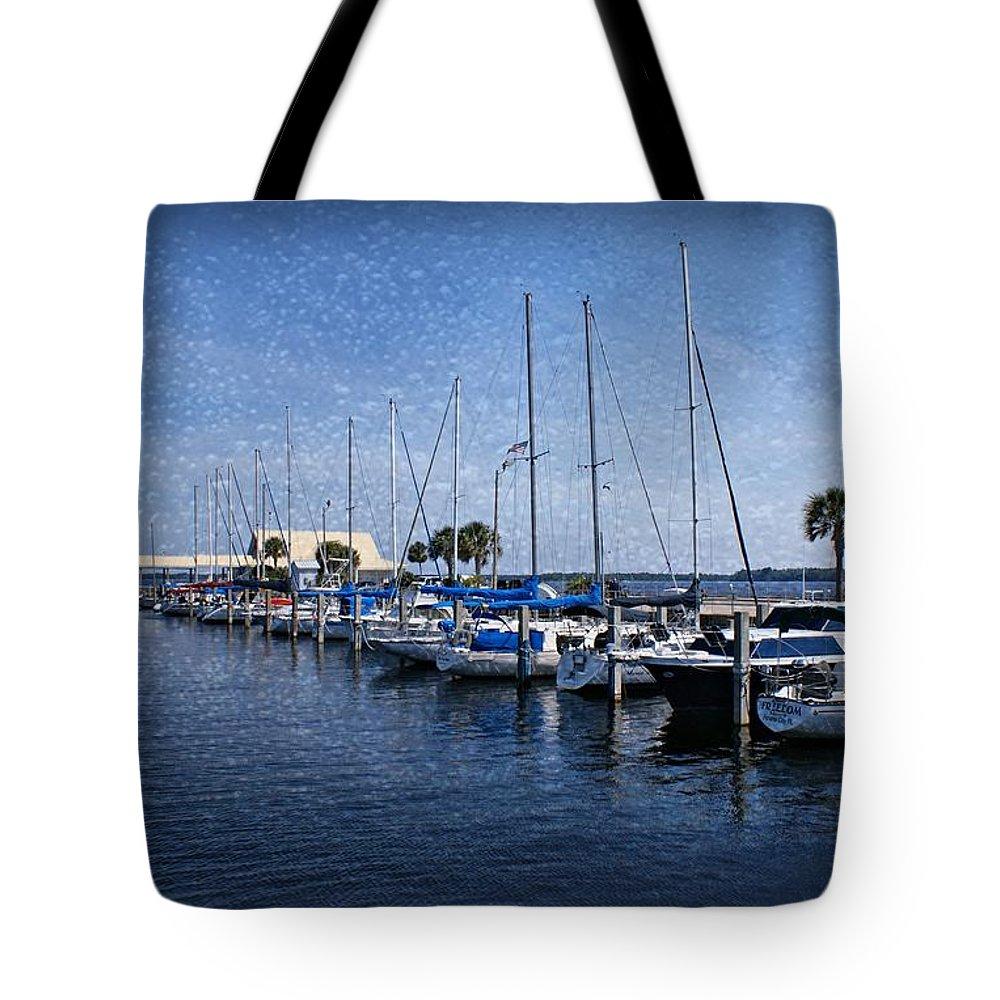 Sailboats Tote Bag featuring the photograph Sailboats by Sandy Keeton