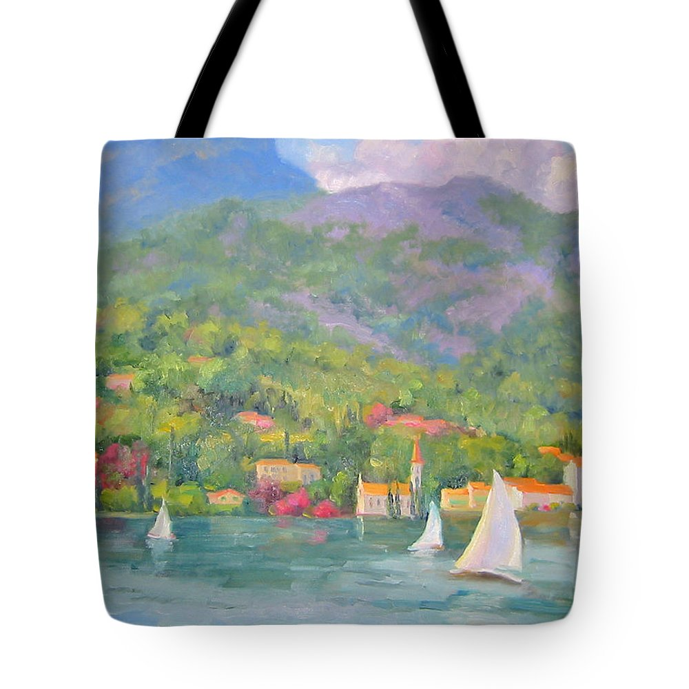 Seascape Tote Bag featuring the painting Sailing - Lake Como by Bunny Oliver