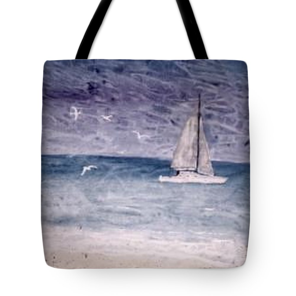 Watercolor Seascape Sailing Boat Landscape Painting Tote Bag featuring the painting SAILING AT NIGHT nautical painting print by Derek Mccrea