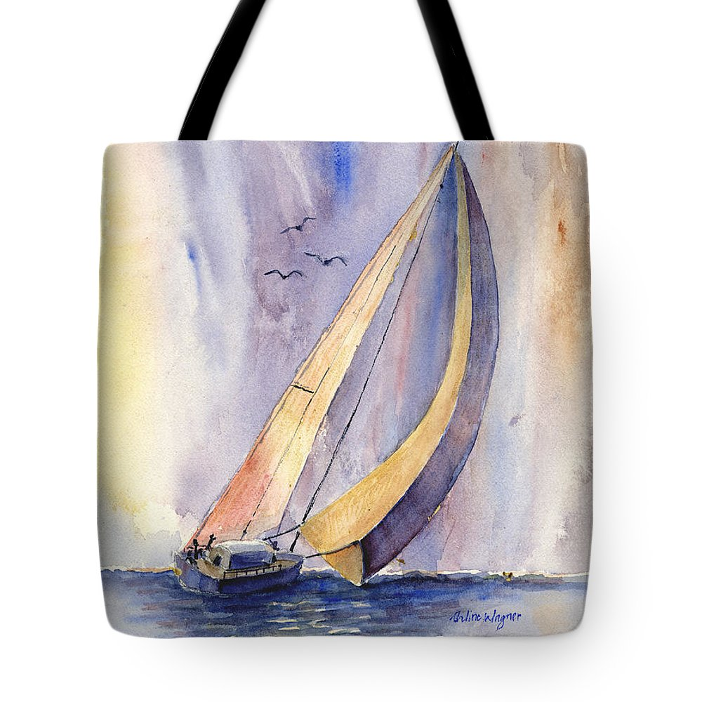 Sailboat Tote Bag featuring the painting Sailing At Sunset by Arline Wagner
