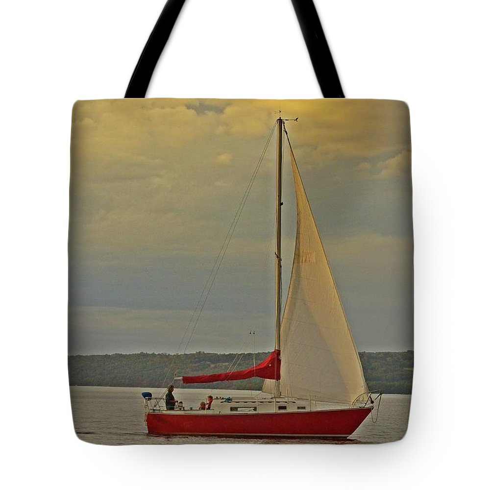 Sailboat Tote Bag featuring the photograph Sailing Away by JD Bennett