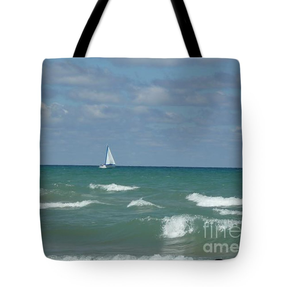 Scenery Tote Bag featuring the photograph Sailing Away On The Lake by Barb Montanye Meseroll