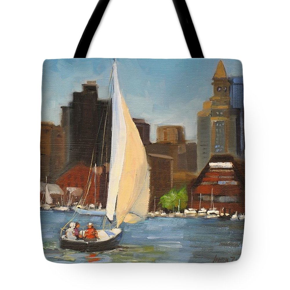 Oil Painting Tote Bag featuring the painting Sailing Boston Harbor by Laura Lee Zanghetti