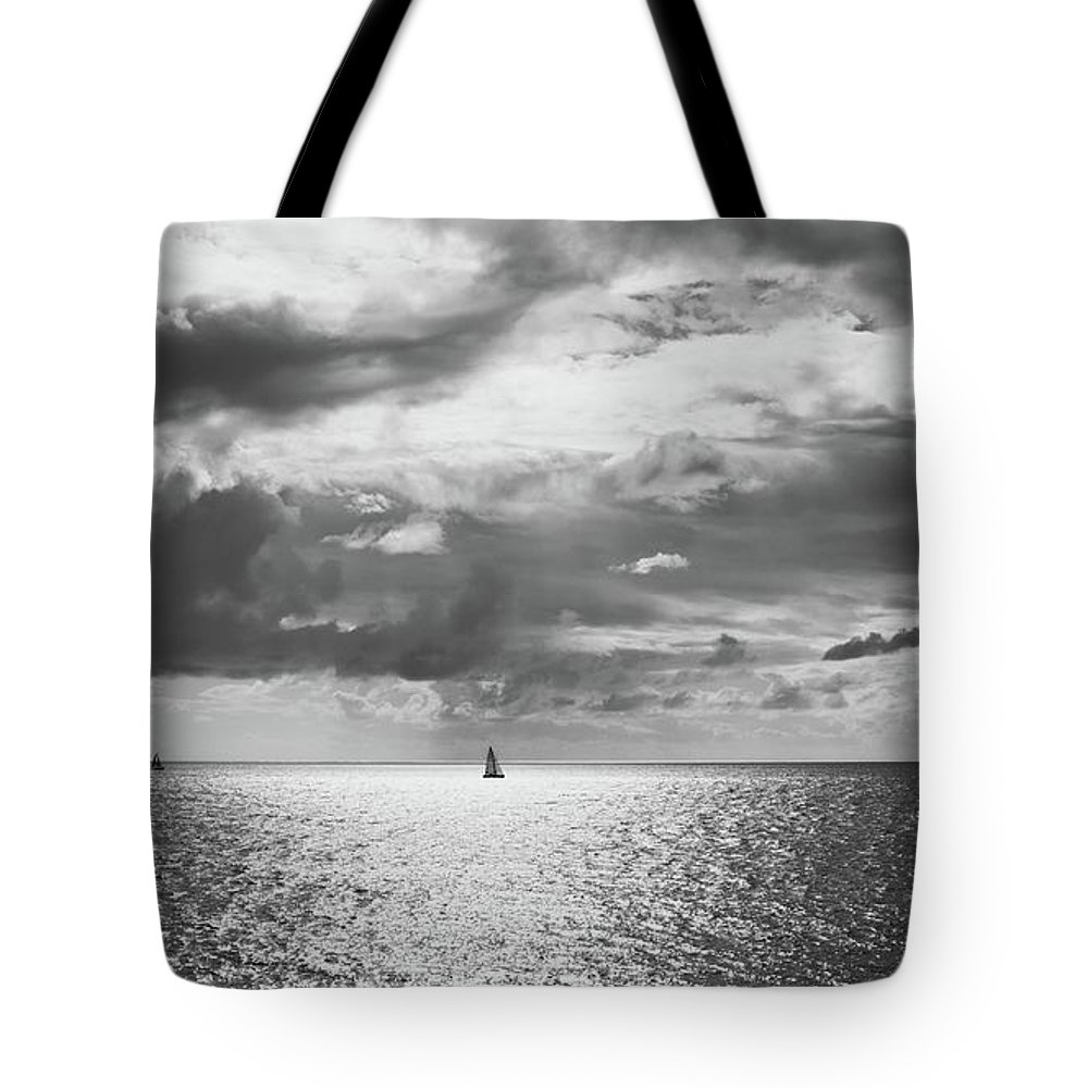 Black And White Photography Tote Bag featuring the photograph Sailing Dreams Black And White by Allan Van Gasbeck