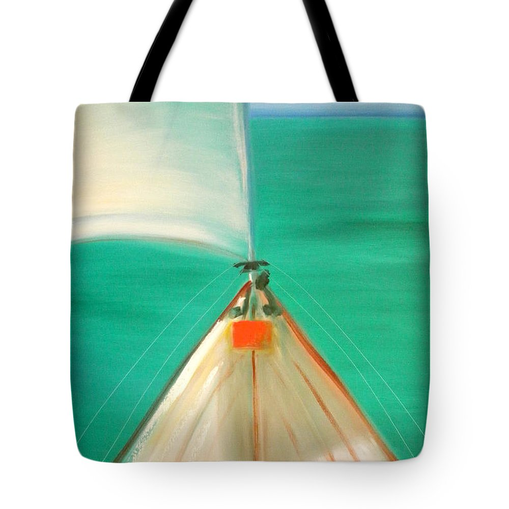 Sea Tote Bag featuring the painting Sailing by Gina De Gorna