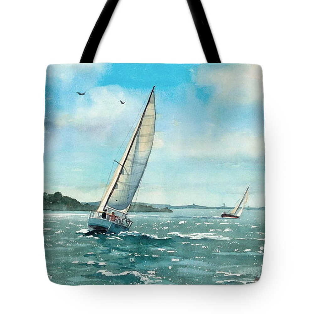 Water Color Painting Tote Bag featuring the painting Sailing Harbor Islands by Laura Lee Zanghetti