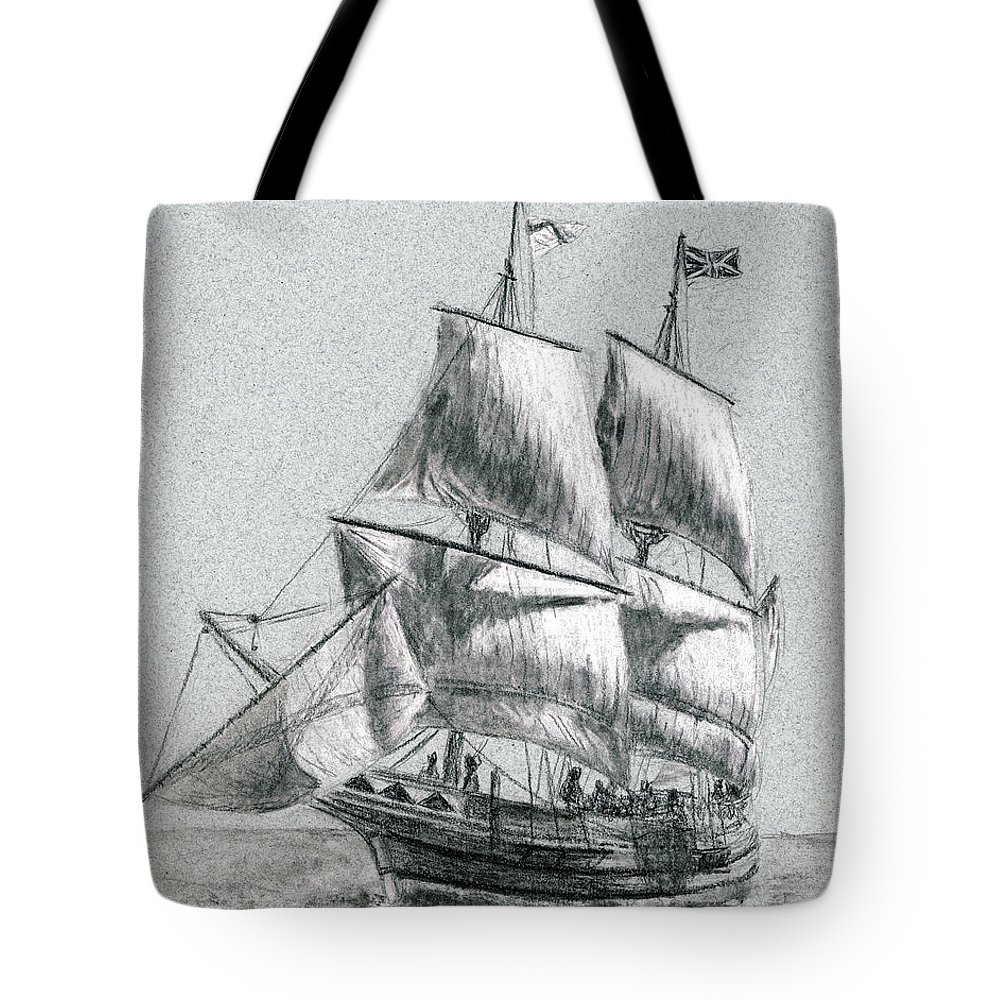 Seascape Tote Bag featuring the drawing Sailing by Michael Beckett
