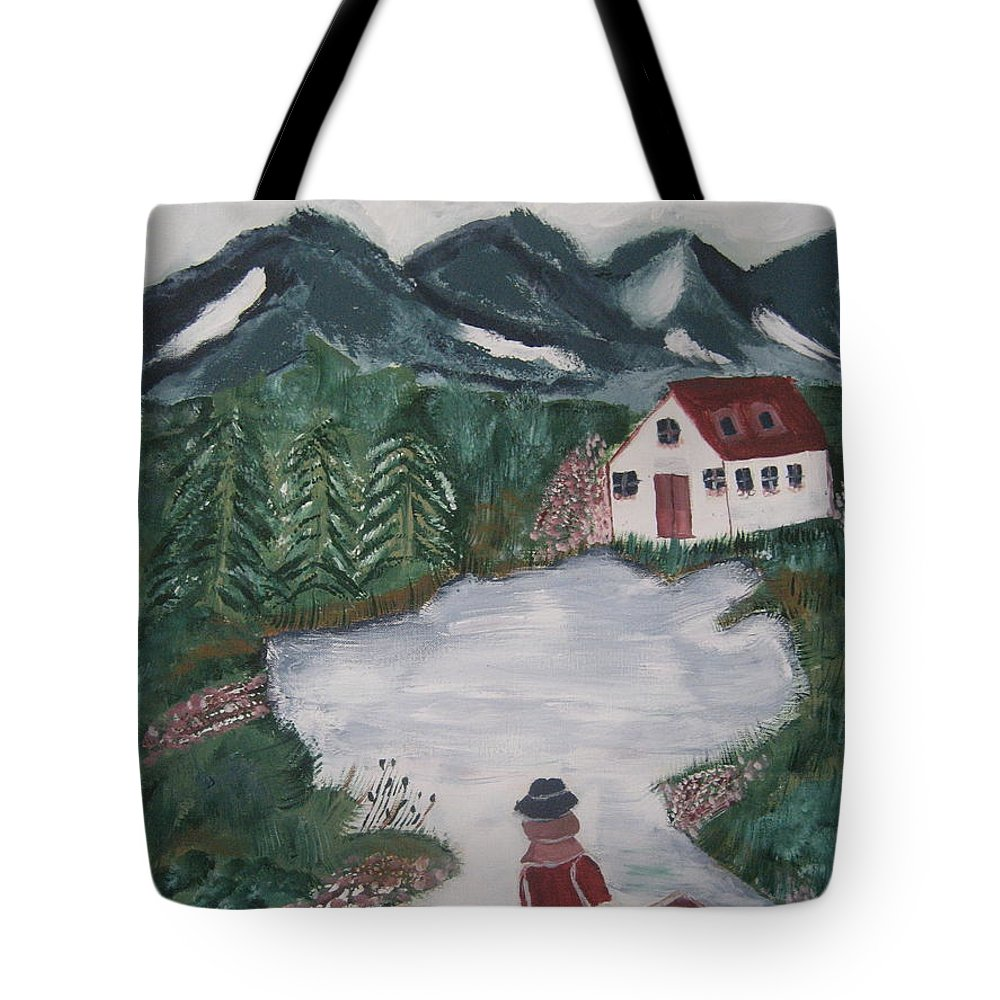 Landscape Tote Bag featuring the painting Sailing Near Home by Vandna Mehta