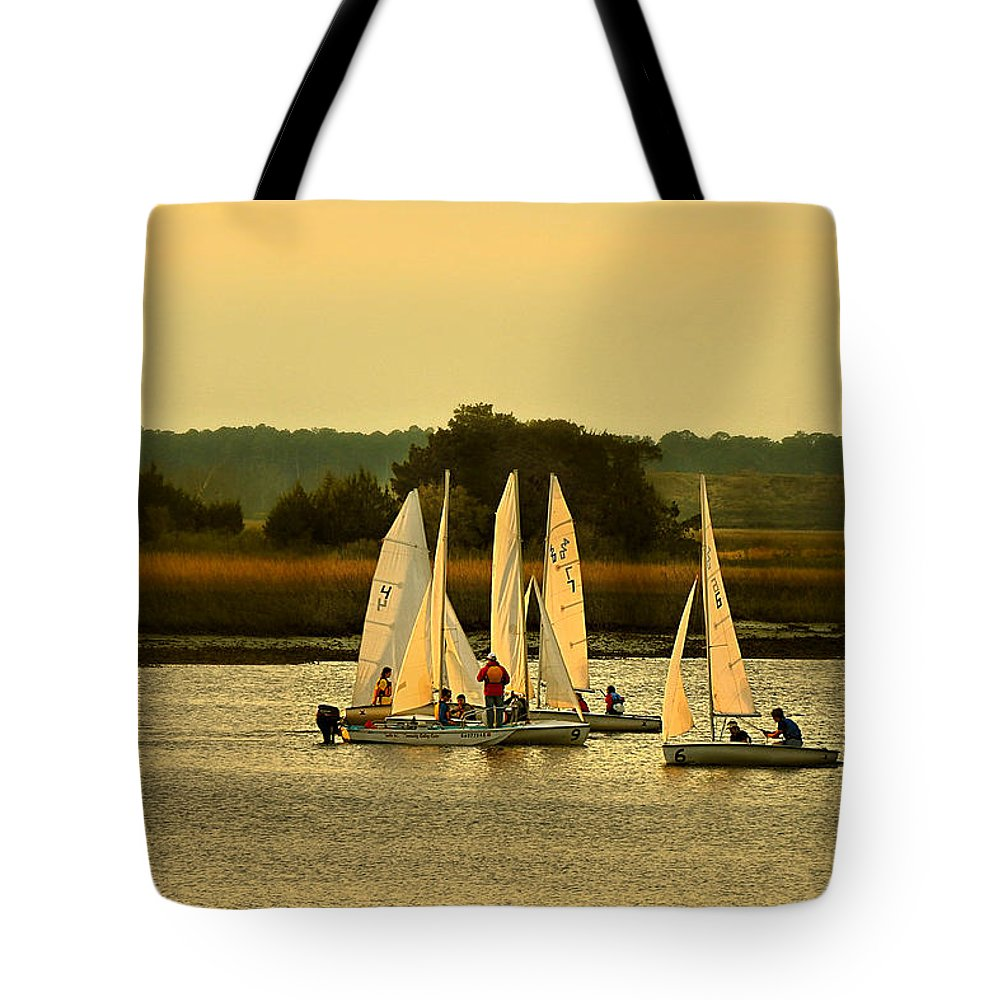 Seascape Tote Bag featuring the photograph Sailing Practice by Laura Ragland