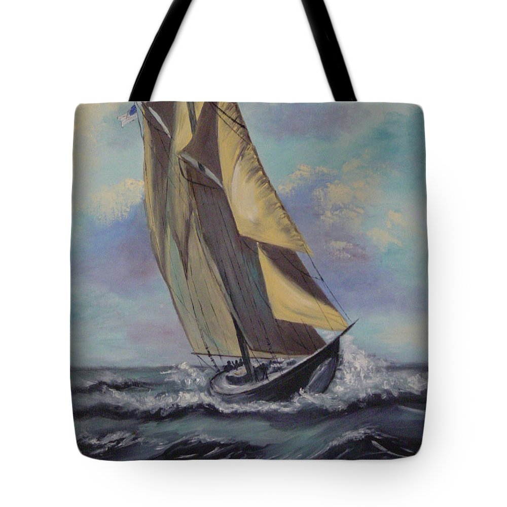 Ocean Tote Bag featuring the painting Sailing by Quwatha Valentine