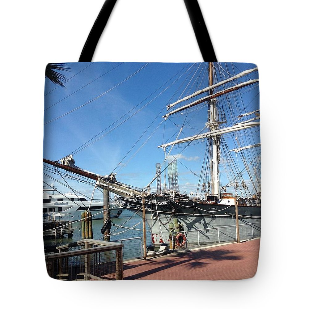 Old Sailing Ship In Galveston Tote Bag featuring the photograph Sailing Ship At Galveston by Carol Cooper