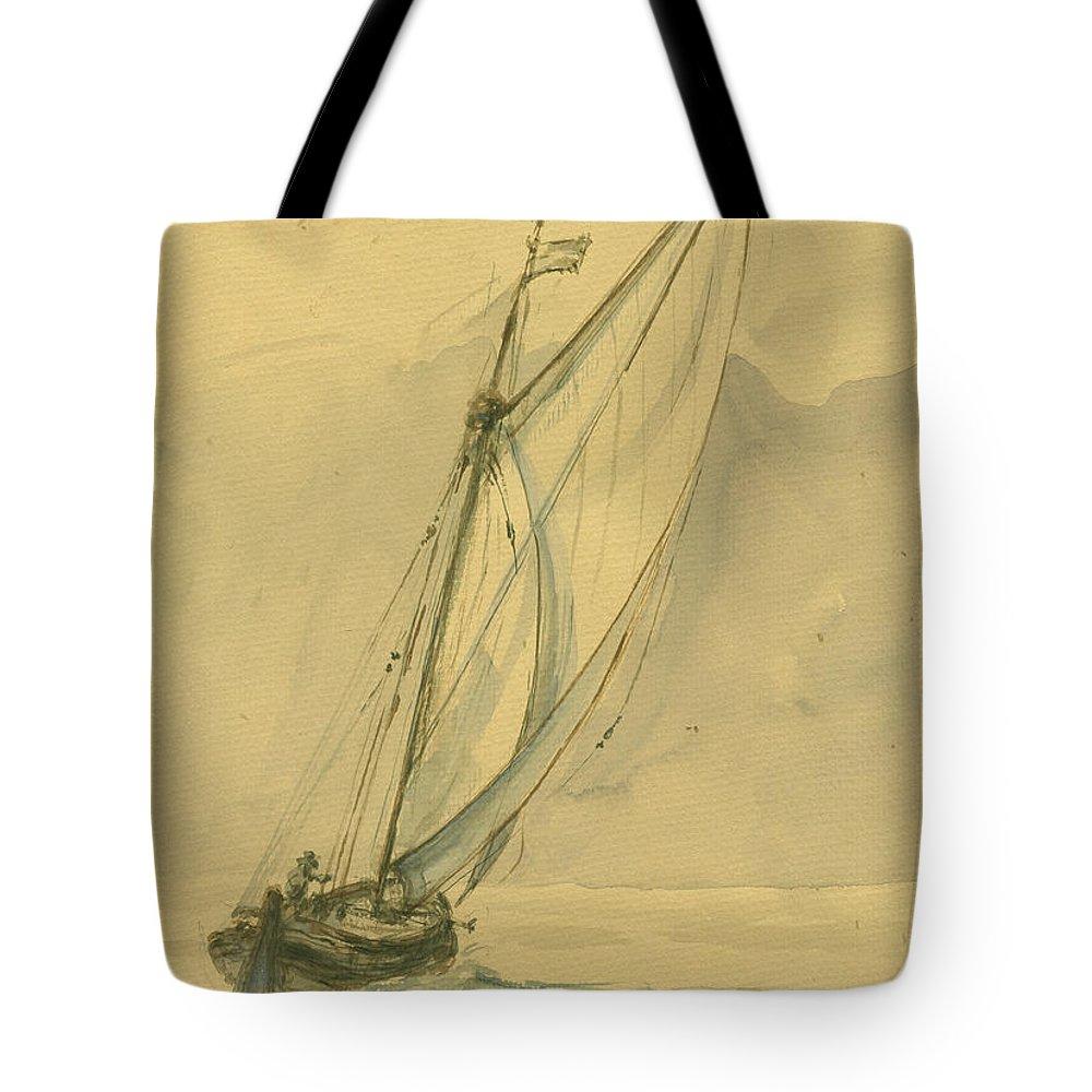 Sail Tote Bag featuring the painting Sailing Ship by Juan Bosco