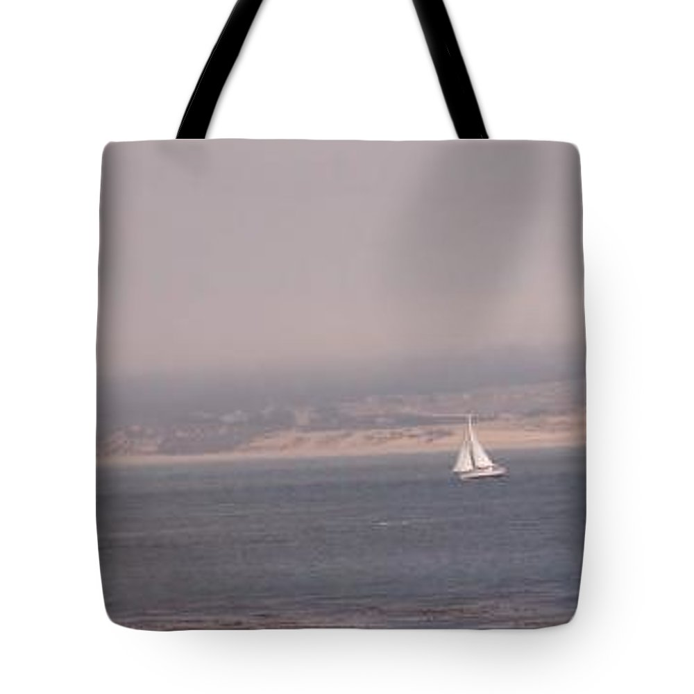 Sailing Sail Sailboat Boating Boat Ocean Pacific Bay Sea Seascape Nature Outdoors Marine Beach Tote Bag featuring the photograph Sailing Solo by Pharris Art