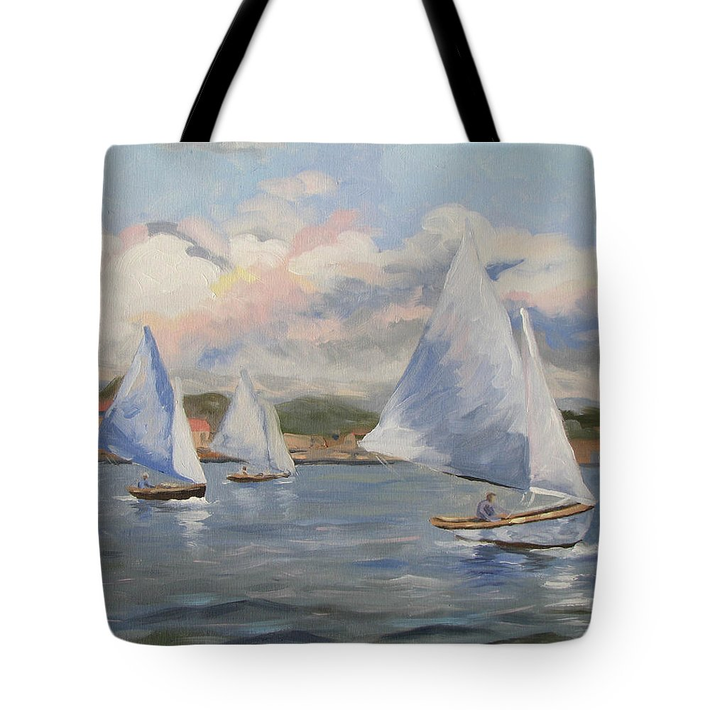 Seascape Tote Bag featuring the painting Sailing Sunday by Jay Johnson