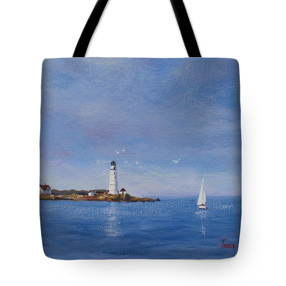 Seascape Tote Bag featuring the painting Sailing To Boston Light by Laura Lee Zanghetti
