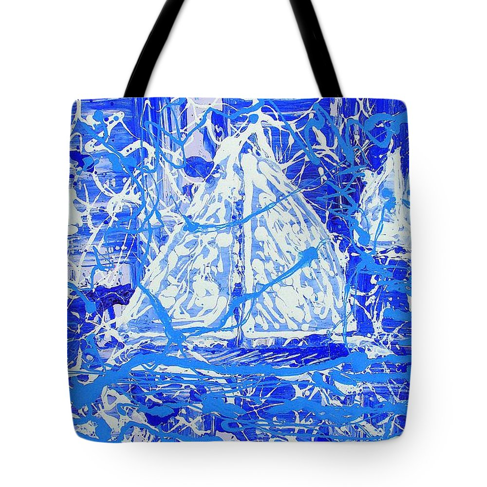 Sailing Tote Bag featuring the painting Sailing With Friends by J R Seymour