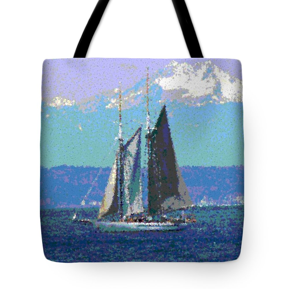 Sail Tote Bag featuring the digital art Sailors Delight by Tim Allen