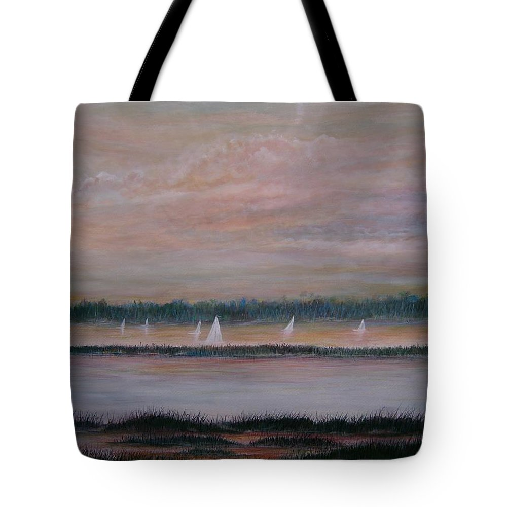 Sailboats; Marsh; Sunset Tote Bag featuring the painting Sails in the sunset by Ben Kiger