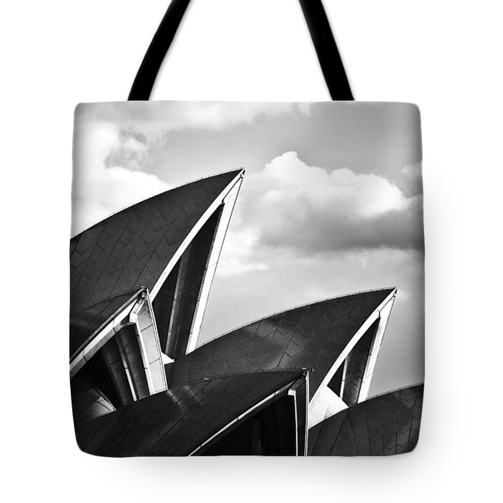Sydney Opera House Monochrome Black And White Icon Tote Bag featuring the photograph Sails Of Sydney Opera House by Sheila Smart Fine Art Photography