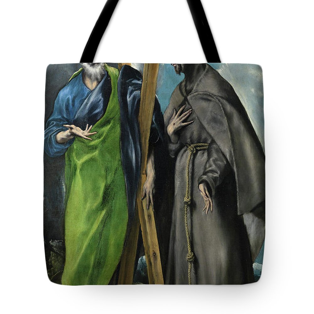 Andrew Tote Bag featuring the painting Saint Andrew And Saint Francis by El Greco