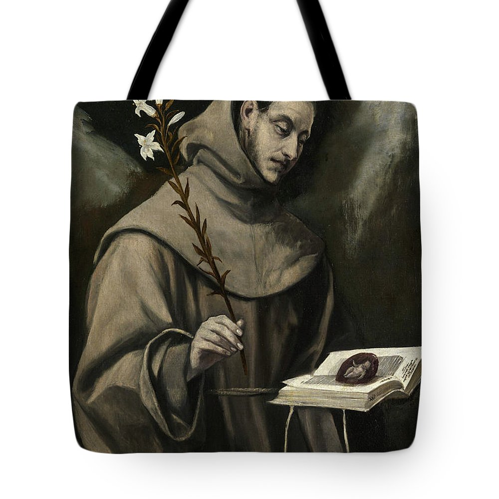 Anthony Tote Bag featuring the painting Saint Anthony Of Padua by El Greco