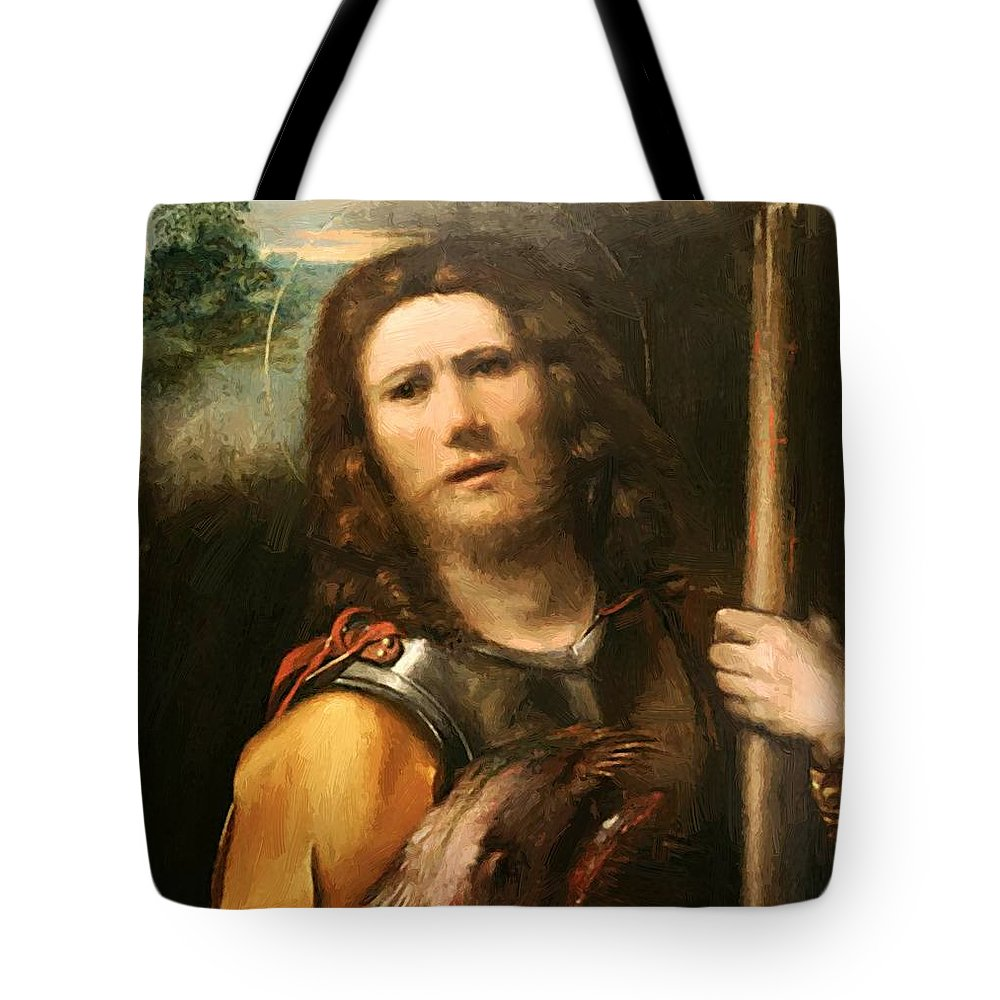 Saint Tote Bag featuring the painting Saint George 1513 by Dossi Dosso