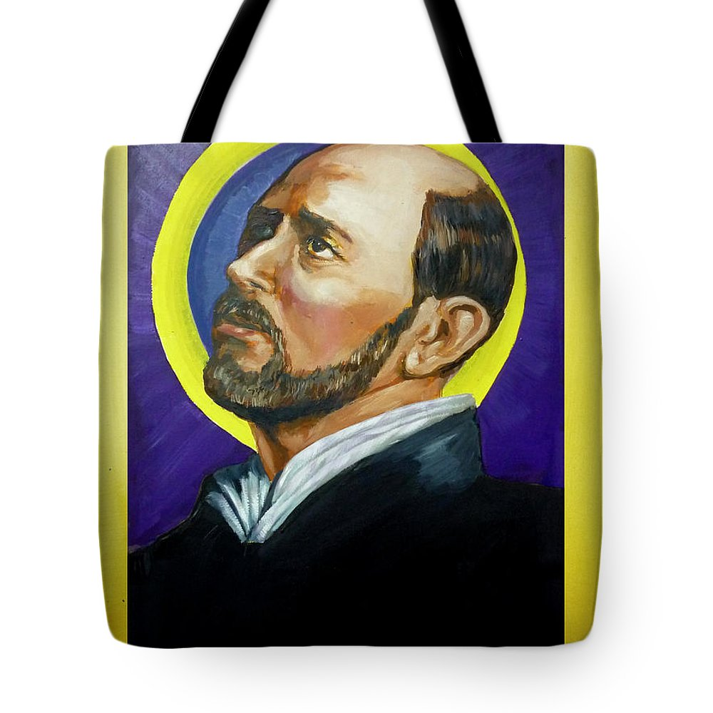 Saint Tote Bag featuring the painting Saint Ignatius Loyola by Bryan Bustard