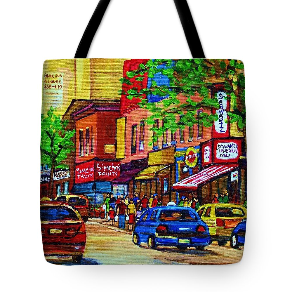 Cityscape Tote Bag featuring the painting Saint Lawrence Street by Carole Spandau