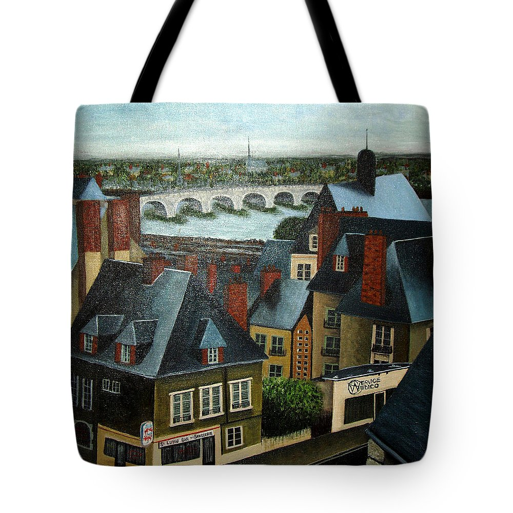 Acrylic Tote Bag featuring the painting Saint Lubin Bar In Lyon France by Nancy Mueller