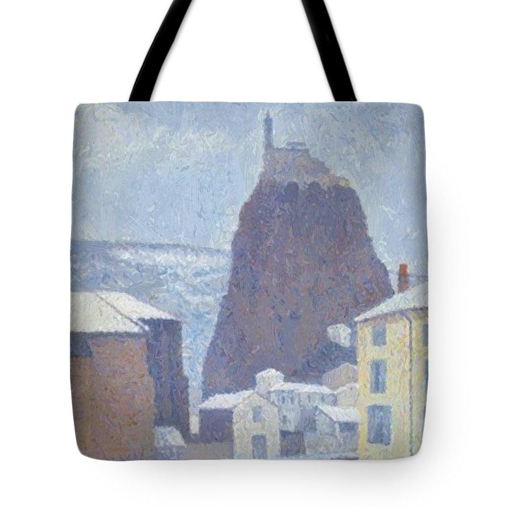Saint Tote Bag featuring the painting Saint Michel D Aiguilhe Haute Loire Under Snow 1890 by DuboisPillet Albert