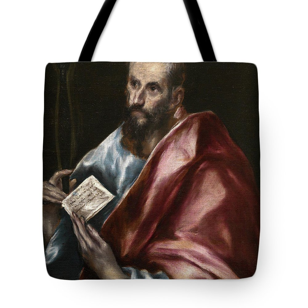 Apostle Tote Bag featuring the painting Saint Paul by El Greco